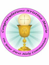 "FIRST HOLY COMMUNION 9"" ROUND CAKE TOPPERS PERSONALIZED EDIBLE PHOTOS ITEM909"