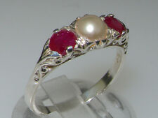 Luxury 925 Solid Sterling Silver Natural Ruby and Cultured Pearl Trilogy Ring