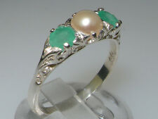 Luxury 925 Solid Sterling Silver Natural Emerald and Cultured Pearl Trilogy Ring