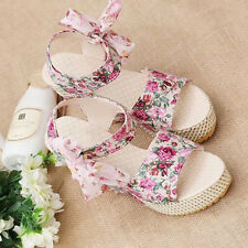 Womens Summer High Heels Sandals Wedge Platform Ankle Straps Sweet Flower Shoes