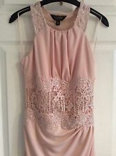 LIPSY SZ 10 NUDE EMBELLISHED LACE EMBROIDERED MAXI DRESS BNWT RRP £80!