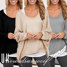 Womens Batwing Sweater T-Shirts Long Sleeve Plus Size Pullover Loose Jumper Tops