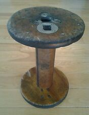 Antique Very Large Wooden Spool Rustic Primitive Industrial Bobbin 11.5""