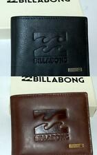 BILLABONG Wallet NEW 100% REAL LEATHER Mens Surf BOSTON 8 FLIP Tri  Black Brown