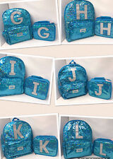 Justice for Girls Turquoise Sequin Sparkle Backpack & Lunch Box set U-Pick NWT!