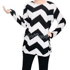 Women Ladies Long Sleeve Zig-zag Pattern Pullover Tops Blouse Casual T-Shirt