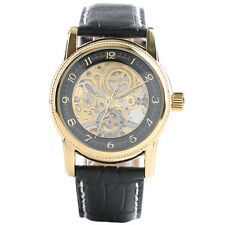 ORKINA Skeleton Genuine Leather Band Men Women Mechanical Automatic Wrist Watch