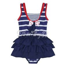 Kid Toddler Girl One Piece Stripe Swimsuit Bather Swimwear Swimming Suit Costume