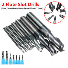 2 Flutes Solid Carbide Mill Cutter Iron Steel Slot Drill Tungsten Coated 2-12mm#