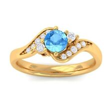 Blue Topaz IJ SI Natural Gemstone Diamond Engagement Ring Yellow Gold