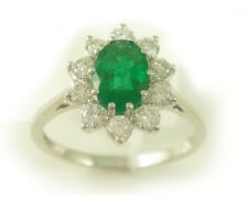18ct White Gold 0.50 cts Diamond & Emerald Cluster Ring ND029
