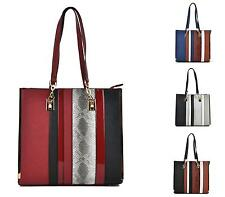 WOMENS SHOULDER BAG FAUX LEATHER MULTI COLOUR TOTE FASHION HANDBAG