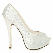 Peep Toe Platform High Heeled Diamante Court Shoes