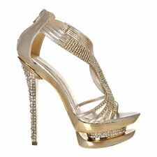 T-Bar High Heeled Double Platform Diamante Sandals