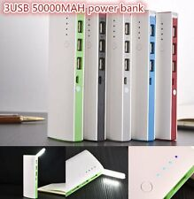 50000mAh 3 USB Backup External Battery Power Bank Pack Charger for Cell Phone#