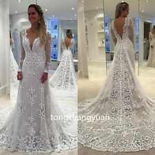 Sexy Wedding Dresses Lace Applique Bridal Gowns Custom Long Sleeve V Neck Train
