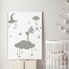 Fairy Wall Decal Moon And Star Vinyl Cloud Sticker Girls Art Nursery Decor MM39
