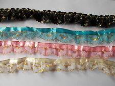 Satin Pleat gathered Double layered Lace over Black & Gold Tulle- choose colour