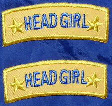 HEAD GIRL iron-on badges for fancy dress school uniform, easy to apply patches