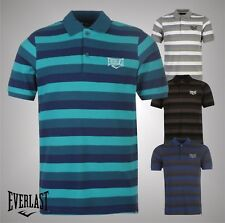 Mens Branded Everlast Everyday Casual Striped Polo Shirt Cotton Top Size S-XXXXL