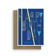Happy Birthday Card, personalized edit NAME for boy man male dad uncle son blue