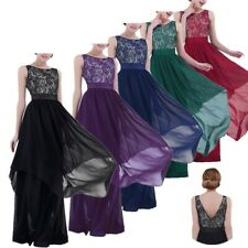 Women Gown Prom Dress Lace Long Chiffon Bridesmaid Evening Party Cocktail Skirt