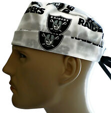 Men's Adjustable, Fold-Up Surgical Scrub Hat in Oakland Raiders White