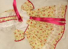 DREAM BABY CERISE FLORAL DRESS & BONNET NB 0-3 3-6 MONTHS OR REBORN