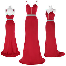 STOCK RED Womens Long Party Prom Bridesmaid Dress MAXI Formal Evening Ball Dress
