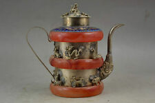 Collectible Handwork Decoration Tibet Silver Red Jade Carve 12 Zodiac Teapot