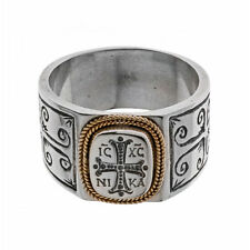 Savati ~ Solid Gold & Sterling Silver Byzantine Cross Band Ring