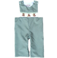Hand Smocked Green Gingham Monkey Longall Romper 6m 9m 12m 18m 2T New!