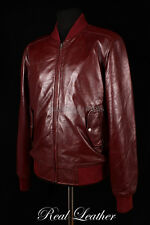 Mens BOMBER HARRINGTON Oxblood Red Lambskin Real Leather Classic Retro Jacket