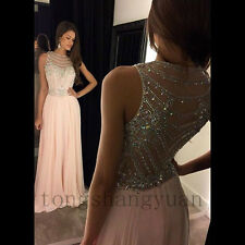 Luxury Evening Dresses  Beading Crystals Chiffon Party Pageant Formal Prom Gowns