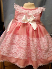 DREAM BABY SPANISH SUMMER 2017 BUBBLEGUM PINK LINED DRESS 0-3 3-6 OR REBORN