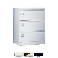 3 Drawer Metal Locking SLV Range Office Side A4 Filing Cabinet with Keys in S...