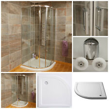 Quadrant Corner Shower Enclosure Cubicle Chrome Glass Door With Shower Tray Inc