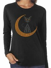 Moon Cat Rhinestone Women's Long Sleeve Shirts Halloween