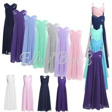 Flower Girl Chiffon Long Dress Pageant Princess Wedding Bridesmaid Gown Prom NWT