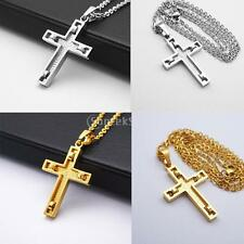 Stainless Steel Cross Crucifix Pendant Necklace Jewelry Gold Silver Tone