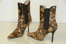 NEW Manolo Blahnik Pony Hair Ankle Boots Animal Print Brown Beige Shoes 37.5