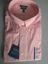 NWT Mens Dress Shirt by Croft & Barrow, Orange & White Striped, Classic Fit