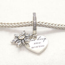 Authentic Genuine S925 Sterling Silver Snowflake Heart Clear CZ Dangle Charm