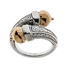 Savati ~ Solid Gold & Sterling Silver Byzantine Bypass Wrap Ring
