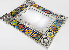 Ceramic Talavera Tile Punched Tin Metal Mexican Mirror Mexico Handcrafted Wall 3