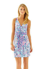 NEW Lilly Pulitzer BELLINA WRAP DRESS Shell Me About It Blue Pink XS S XL