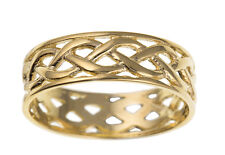 Celtic Wedding Band Yellow Gold Ladies Wedding Ring Hallmarked 6mm Wide Ring
