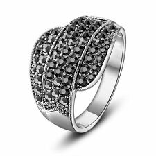 Retro Beaded Line Marcasite Cocktail Ring 18k White Gold GP Fashion Gift R1030