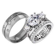 3 Pcs His Hers Titanium Sterling Silver Cubic Zirconia Wedding Bridal Ring Sets