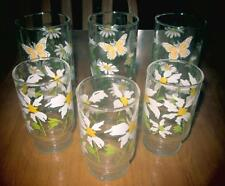 6 Vintage 1960s Daisy Yellow Flowers Juice Drinking Glasses Libbey Butterfly & ?